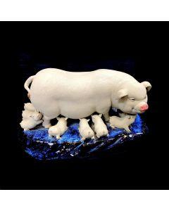 PORCELAIN PIGS-DISPLAY/BIG/WHT/BLU