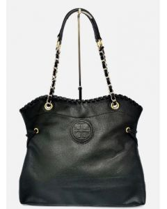 SHOULDER BAG-BLK LEATHER CHAIN HANDLE