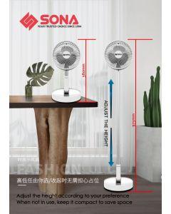 Sona Cordless Foldable Portable Stand Floor Desk Fan USB 7200mAh Battery