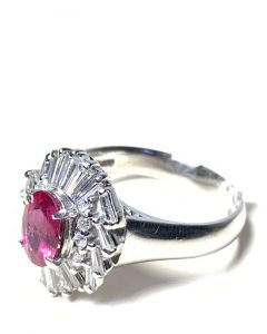 PT900 Ruby Diamond Ladies Ring with Cert