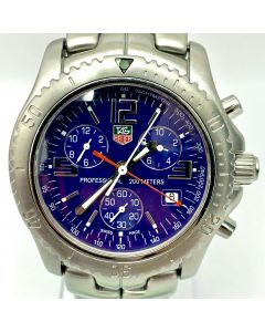 WATCH-TAG HEUER/QZ/CHRONO/BLUE DIAL/DT/BRAC