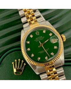 WATCH-ROLEX/BOY/AT/HG/GRN DIAL/D10/BRACELET