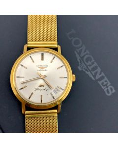 LONGINES FLAGSHIP VINTAGE WATCH-WINDING/18K Y.GOLD/DT/SIL DIAL