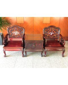 Rosewood Imperial Dragon Motif Armchair Set