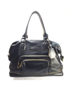 Longchamp black leather with gold 'doctor' bag