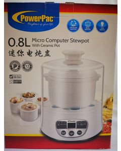 PowerPac 0.8L Micro Computer Stewpot W/Ceramic Pot (PPSD208)