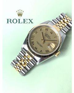 Rolex 16233 Datejust 18k Gold Roman Dial