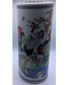 VASE-48CM/CRANE BIRD/PRIN/TALL/WHITE
