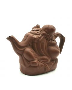 TRADITIONAL CLAY TEA POT W/OLD MAN CARVING