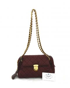 Prada Tessuto Impuntu Shoulder Bag Maroon