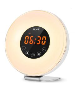 Inlife Wake-Up Light Alarm Clocks With FM Radio Time Display Touch Mode LED Time Display Snooze Function Night Light RGB Color
