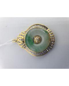 18KYG DIAMOND A-JADE PENDANT WITH CERT