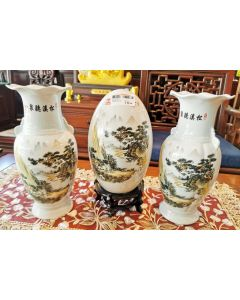 """13"""" TALL CHINESE SCENERY PRINT PORCELAIN VASE WITH EGG DISPLAY (3PCS SET)"""