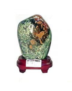 Moss Agate with Wooden Base