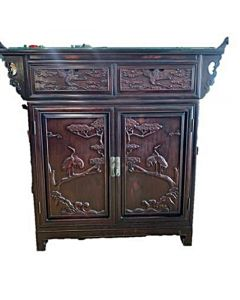 Rosewood Altar Table with Crane Carvings