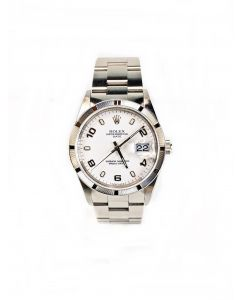 Rolex Oyster Perpetual White Dial Mens Watch (15210)