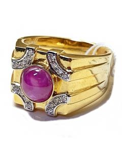 Star Sapphire Mens Ring in 18K Yellow Gold