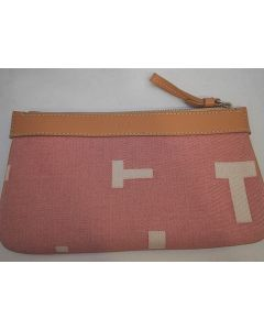 TOD'S - PINK LEATHER AND CANVAS CLUTCH BAG