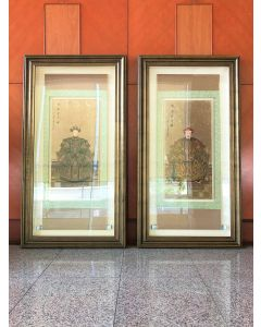Qing Dynasty Emperor & Empress Portrait (Pair)