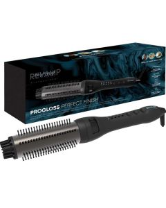 Revamp Progloss Perfect Finish Curl & Waves Styling Brush - Lightweight Heated Curling Hairbrush for Flawless Hair, Unique Waver and Volumiser, Infused with Keratin, Coconut, Argan Oil - Black