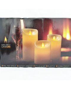 FLAMELESS LED CANDLE  - 3 PCS / REMOTE