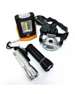 4-PACK WORK LIGHT HANDHELD FLASHLIGHT & HEADLAMP COMBO