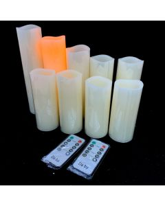 FLAMELESS CANDLE LIGHT - SET OF 9 /2 REMOTE