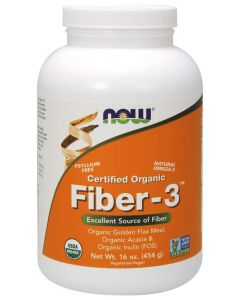 NOW Supplements, Fiber-3, Certified Organic, Non-GMO Project Verified, Psyllium Free, with Organic Golden Flax Meal, Acacia & Inulin, 16-Ounce