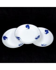 Ciya Blue Carp 9 Inch Porcelain Soup Plate - 3PCS