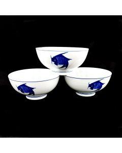 """Ciya Blue Carp 6"""" Porcelain Bowl (3Pc)"""