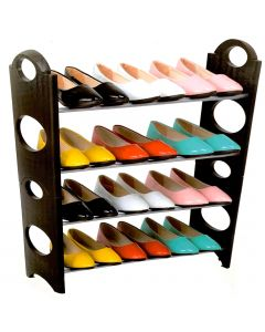Houze 4 Tier Shoe Rack, Black