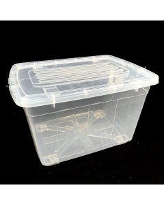 HOUZE Storage Box with Wheels, Transparent, 77L