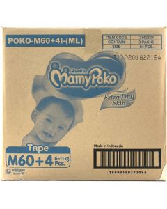 Mamypoko Extra Dry Skin Tape Diapers M60  (6-11kg)