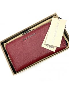 WALLET-BURBERRY/LONG/ZIP/MAROON