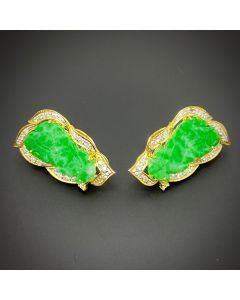 JADE DIAMOND GOLD EARRINGS