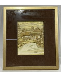 House with Pond Gold Picture Frame