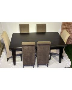 Modern Contemporary Dining Set w/ 6 Fabric Chairs