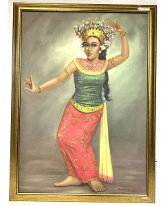 Bali Dancer Canvas Oil Painting on Frame Signed by DURADIAT