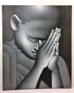 Greyscale Oil Painting of Young Monk