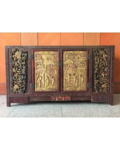 Chinese Carving Panel Sideboard Cabinet