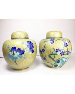 Pair of Antique Cloisonne Bronze Jar