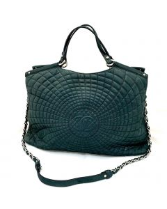 Chanel SHOULDER BAG-BLK 2-WAY QUILTED SILVER CHAIN