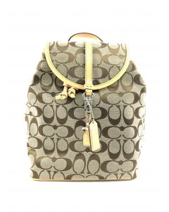 BACKPACK-BROWN CANVAS&LEATHER SIGNATURE C