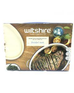 Wiltshire Enamel Oval Roaster With Lid 3L Blue Rim