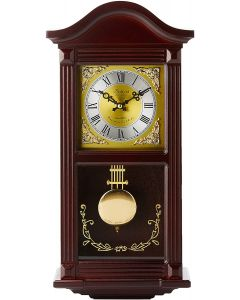 Bedford Clock Collection Small Wood Wall Clock with Brass Pendulum