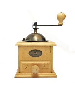 Manual coffee mill in hand-aged beechwood 21 cm - 8in.