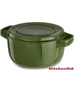 KitchenAid KCPI60CRIG Professional Cast Iron 6-Quart Casserole Cookware, Ivy Green