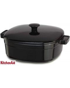 KitchenAid KCLI60CROB Streamline Cast Iron 6-Quart Casserole Cookware, Onyx Black