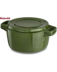 KitchenAid KCPI40CRIG Professional Cast Iron 4-Quart Casserole Cookware, Ivy Green