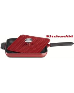 KitchenAid KCI10GPER Cast Iron Grill and Panini Press Cookware, Empire Red